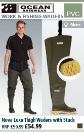 Ocean Rainwear Nova Luxe Thigh Waders with Studs - Olive