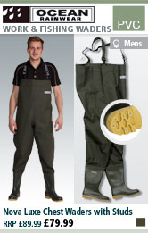 Ocean Rainwear Nova Luxe Chest Waders with Studs - Olive