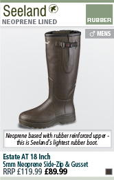 Seeland Estate AT 18 Inch 5mm Neoprene Side-Zip & Gusset Wellington Boots - Brown