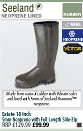 Seeland Estate 18 Inch 5mm Neoprene Full Length Side-Zip Wellington Boots - Dark Green
