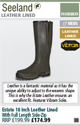 Seeland Estate 18 Inch Leather Lined Full Length Side-Zip Wellington Boots
