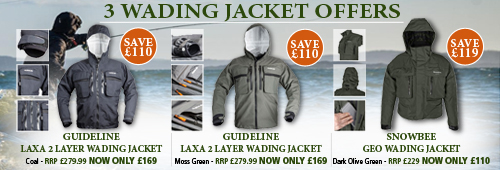 3 Wading Jacket Offers Guideline 2 Layer Laxa wading jacket Moss Green, Guideline 2 Layer Laxa wading jacket Coal and Snowbee Geo Wading Jacket Dark Olive