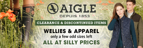 Aigle Clearance and Discontinuedv Items on Wellies and Apparel
