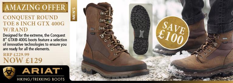 Ariat Conquest Round Toe 8 Inch GTX 400g w/Rand Walking Boot (Men's) - Dark Brown