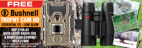 Bushnell FREE Trophy Cam HD E3 Low Glow Trail Camera with every Binocular Order Costing Over £1000