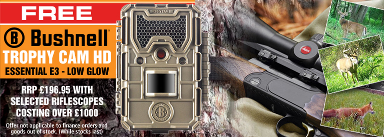 Bushnell FREE Trophy Cam HD E3 Low Glow Trail Camera with every Riflescope Order Costing Over £1000