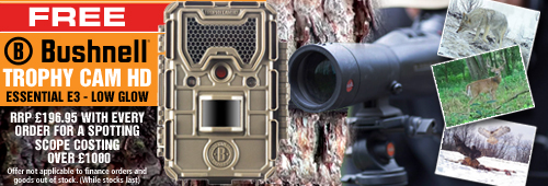 Bushnell FREE Trophy Cam HD E3 Low Glow Trail Camera with every Spotting Scope Order Costing Over £1000