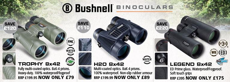 Bushnell Trophy, H20 and Legend Binoculars