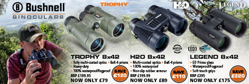 Bushnell Trophy, H20 and Legend Binoculars