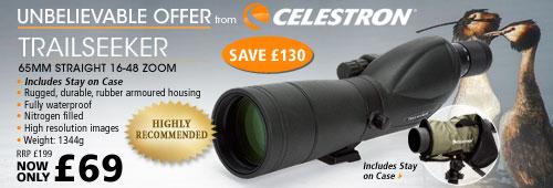 Celestron Trailseeker 65mm Straight 16-48x Zoom Spotting Scope - Black