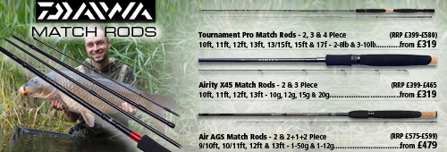Daiwa Tournament Pro, Airity Match and Air AGS Match Rods