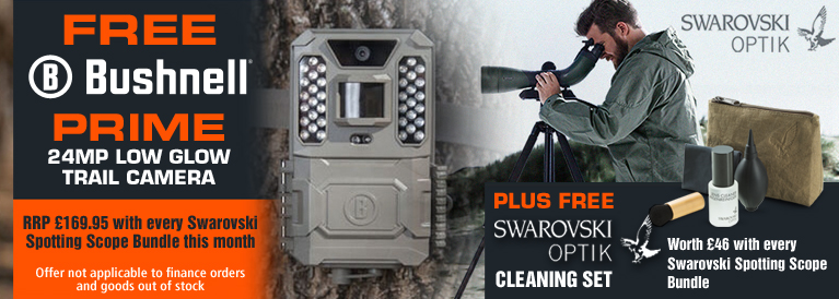 FREE Bushnell Prime 24MP Low Glow Trail Camera and Cleaning Set with every Swarovski Spotting Scope Bundle