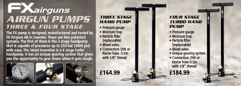 FX Airgun Pumps - Three Stage Hand Pump and Four Stage Turbo Hand Pump