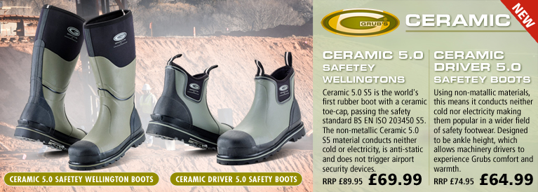Grubs Ceramic 5.0 Safetey Wellington Boots and Ceramic Driver 5.0 Safetey Boots