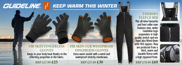 Guideline Fir Skin Fingerless Gloves - Black, Fir Skin CGX Windproof Fingerless Gloves - Black/Orange and Thermo Fleece Bib