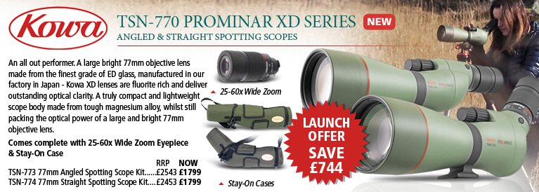 Kowa TSN-773 & TSN-774 77mm Prominar XD Spotting Scope Kits With 25-60x Wide Zoom Eyepiece & Stay-On Case