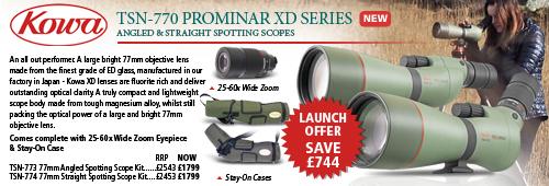 Kowa TSN-773 & TSN-774 77mm Prominar XD Spotting Scope Kits With 25-60x Wide Zoom Eyepiece & Stay-On Case