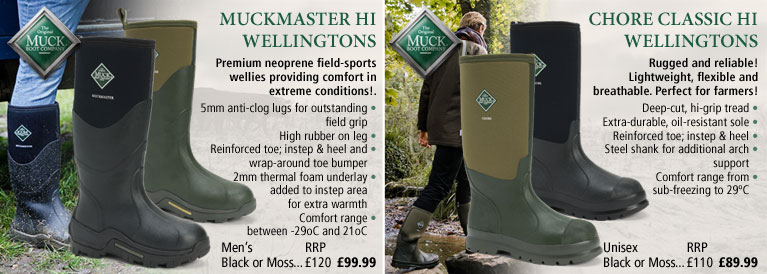 Muckboots Muckmaster and Chore Classic Wellingtons