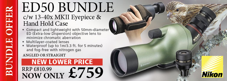 Nikon Fieldscope ED50 Angled Spotting Scope, 13-40x MKII Eyepiece & Hand Hold Case - Green