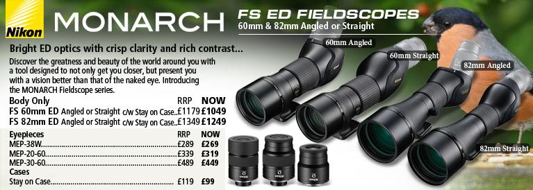 Nikon Monarch FS ED Fieldscopes 60mm & 82mm Angled or Straight
