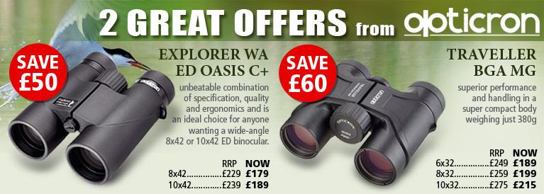 Opticron Explorer WA ED Oasis C+ and Traveller BGA WA Binoculars 2 Great Offers from Opticron