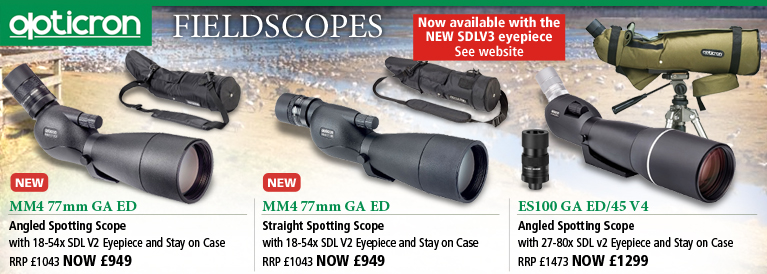 Opticron MM4 77mm GA ED and ES100 GA ED 45 Fieldscopes