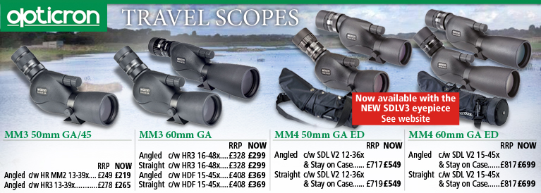 Opticron MM3 GA and MM4 GA ED Travel Scopes