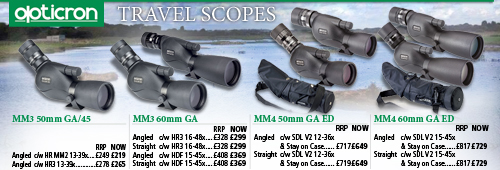 Opticron MM3 GA and MM4 GA ED Travel Scopes