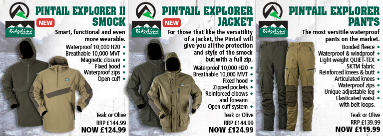 Ridgeline Pintail Explorer II Smock, Pintail Explorer Jacket and Pintail Explorer Pants