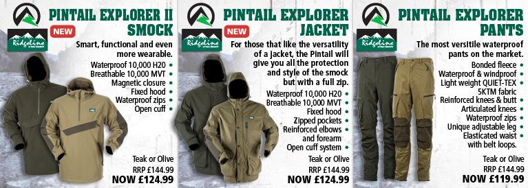 Ridgeline Pintail Explorer II Smock, Pintail Explorer Jacket and Pintail Explorer Pants