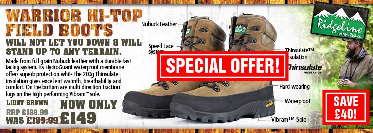 Ridgeline Warrior Hi-Top Field Boots Black Friday Offer