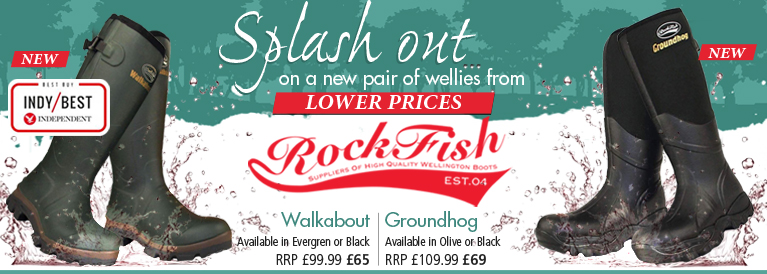 Rockfish Walkablot and Groundhog Wellington Boots