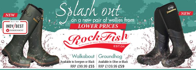 Rockfish Walkablot and Groundhog Wellington Boots
