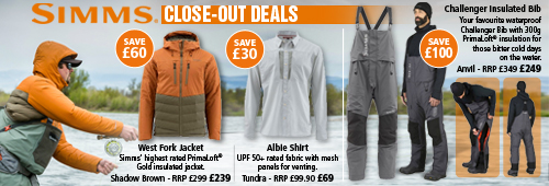 Simms Close-Out Deals - West Fork Jacket, Albie Shirt and Challenger Insulated Bib
