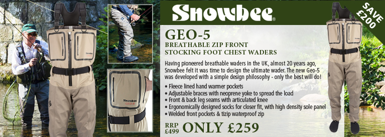 Snowbee Geo-5 Breathable Zip Front Stocking Foot Chest Waders