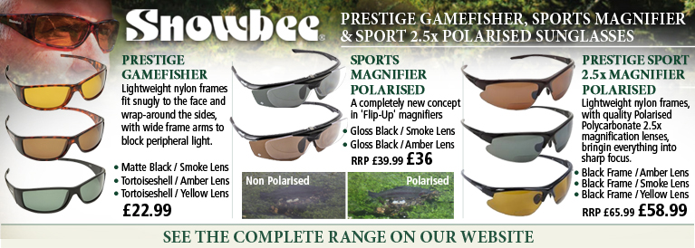 Snowbee Prestige Gamefisher, Sports Magnifier and Prestige Sport 2.5x Magnifier Polarised Sunglasses