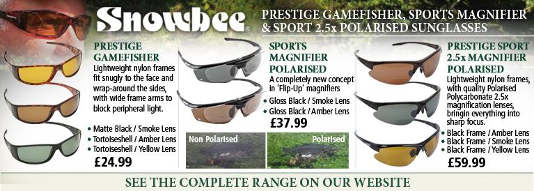 Snowbee Prestige Gamefisher, Sports Magnifier and Prestige Sport 2.5x Magnifier Polarised Sunglasses