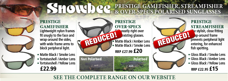 Snowbee Prestige Gamefisher, Streamfisher and Over-Spec Polarised Sunglasses
