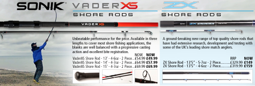 Sonik VaderXS and ZX Shore Rods