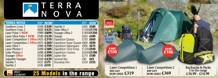 Terra Nova & Wild Country Tents Range