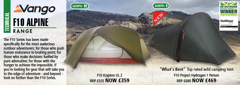 Vango F10 Alpine Krypton UL 2 Tent and F10 Project Hydrogen 1 Person Tent