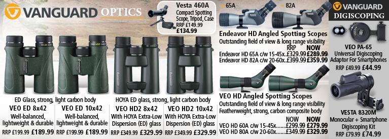Vanguard Spotting Scopes, Binoculars and Digiscoping Adaptors