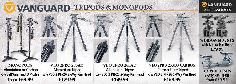 Vanguard Monopods, Tripods, Tripod Heads and Window Mounts