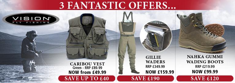 Vision Caribou Vest, Gillie Waders and Nahka Gummi Wading Shoes - 3 Fantastic Offers