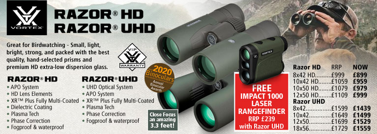 Vortex Razor HD and Razor UHD Binoculars