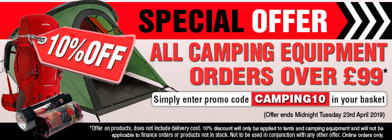 Weekend Offer 10 Percent Off all Camping Equipment