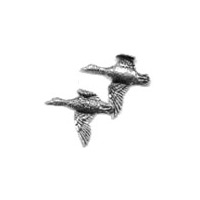 Image of A R Brown Pair of Ducks (Flying) Pewter Pin Badge