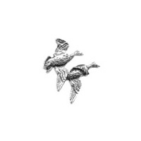 A R Brown Pair of Ducks (Take off) Pewter Pin Badge
