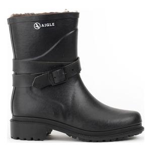 Image of Aigle Macadames Mid Fur Rubber Boots (Women's) - Noir