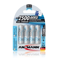 Ansmann AA Size - 4 x 2500mAh - Max e+ NiMH Rechargeable Batteries